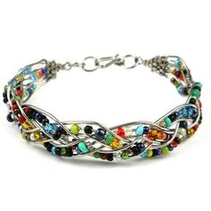 Woven Silverplated Wire and Colorful Bead Bracelet – Zakali Creations – Jewelery Wire Wrapped Jewelry, Metal Jewelry, Beaded Jewelry, Jewellery, Antique Jewelry, Seed Bead Bracelets, Silver Bracelets, Seed Beads, Jewelry Bracelets