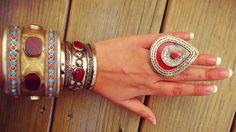 Tuareg  Aqeeq Turquoise  Coral cuff bracelet by ZamarutJewel