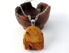 Wood Pendant Necklace Cherry Burl Wooden Eco Friendly by Hendywood, $25.00