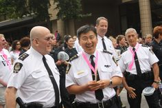 Chief Constable Jim Chu walking in the Pride Parade with his fellow officers. Forms Of Birth Control, Major Crimes, Respect Women, Minimum Wage, Pride Parade, Look At The Stars, Community Events, Hospitals, Vulnerability