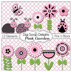Pink and Black Bundle Bugs  Flowers Labels by DigiScrapDelights, Card making