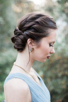 twisted updo - photo by Carolynn Seibert http://ruffledblog.com/rich-and-romantic-wedding-inspiration