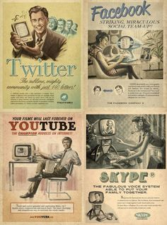 Twitter, Facebook, Youtube, Skype - Vintage.