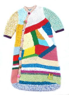 Japanese- style, freeform crochet coat. Photo only. Would love to know how she made this.