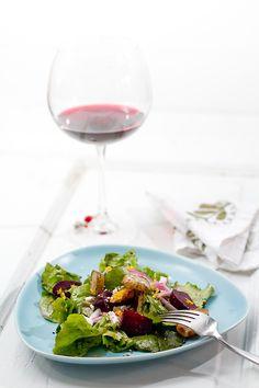Roasted Beet, Sunchoke, and Arugula Salad with Orange Vinaigrette | a Couple Cooks