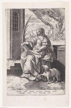 Johann Sadeler (I) | Heilige Agnes, Johann Sadeler (I), 1583 - 1587 | De H. Agnes, zittend naar links, met palmtak in de hand en een boek op schoot. Naast haar het lam. Op de achtergrond tracht men haar op de brandstapel te doden, maar de vlammen verbranden slechts haar beulen. Een engel kroont haar met een lauwerkrans. De tweede prent van een zeventiendelige serie met vrouwelijke heiligen.