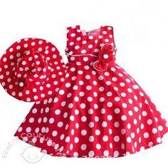 Red Elegant Polka #Dress With Hat