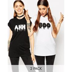 ASOS Halloween T-Shirt 2 Pack With Boo Ahh (€28) ❤ liked on Polyvore featuring blackwhite and asos