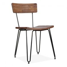 Cult Living Black Hairpin Chair with Wood Seat | Hairpin Legs |Cult UK
