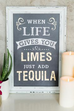 """""""When life gives you limes, just add tequila"""" Hang this hilarious sign in your kitchen or bar area for a fun touch! White wood borders the chalk board body. Pair with our additional home & wall decor for a complete look.<br /> <br /> - 11"""" x 17""""<br /> - White wood border<br /> - Chalk board body<br /> - Imported<br />"""