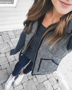 j crew tweed vest, and casual outfit with sneakers - perfect fall casual outfit