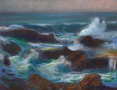 "American Legacy Fine Arts presents ""Surging Waves at Treasure Island; Laguna Beach"" a painting by Peter Adams."