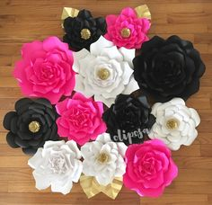 12 pc Kate Spade inpired, Customize your colors! Giant Paper Flowers, backdrop, candy buffet, decor.