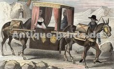 Voyage En Litière Portugal. Original steel engraving drawn by Demoraine, engraved by Prot. 1859. Good condition. Hand-coloured. 15x9,5cm. Matted.