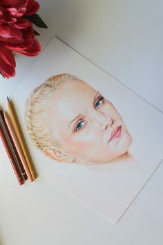 Painting a colored pencil portrait step