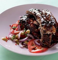Sticky pomegranate-glazed spare ribs