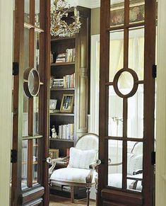 Interior glass doors...maybe not this style necessarily but a beautiful architectural detail to any home!