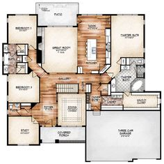 love this layout. no stairs unless they are up to a bonus room (above garage?) LOVE the door from the laundry into the master closet.