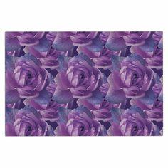 "Shirlei Patricia Muniz ""Roses"" Lavender Floral Decorative Door Mat"