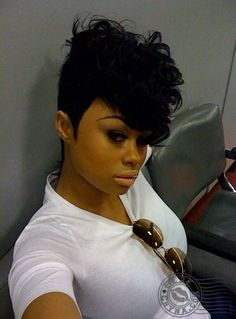 """22 Irresistible Tapered Afro Hairstyles That Make You Say """"Wow! Quick Weave Hairstyles, Mohawk Hairstyles, Short Black Hairstyles, Short Hair Cuts, Short Hair Styles, Curly Mohawk, Curly Hair, Relaxed Hairstyles, Curly Pixie"""