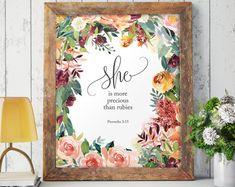Bible verse Proverbs nursery wall art She is Bible Verse Decor, Bible Verses, More Precious Than Rubies, Metallic Paper, Nursery Wall Art, Diy Wall, Baby Shower Gifts, Prints, Proverbs 31