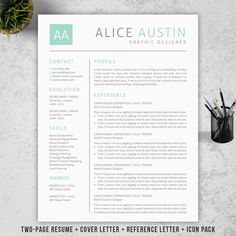 Teacher Resume Template | Cover Letter + Reference Letter for MS Word | Professioanl and Creative Resume Design | Mac or Pc | Teal
