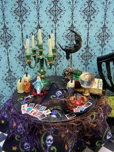 19th Day Miniatures Works in Progress: Some better pictures of my miniature Fortune Teller's Table in Progress