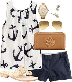 Summer please hurry !!   Anchors  Glitter by classically-preppy featuring stud earrings ❤ liked on PolyvoreJ.Crew chino shorts / Jack Rogers  sandals / Tory Burch wallet / Michael Kors watch / J.Crew stud earrings / Ray-Ban sunglasses / Factory girls' airy tank