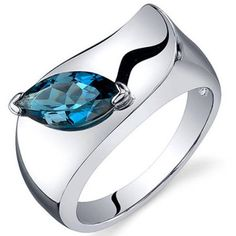 Oravo 1.00 Carat T.G.W. London Blue Topaz Rhodium-Plated Sterling Silver Engagement Ring, Women's, Size: 7