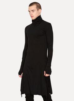 Cold Black Cotton Cashmere Tunic