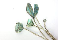 Artisan Ceramic Porcelain Beads bronze blue pods by greybirdstudio