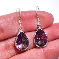 """925 Sterling Silver Jewelry Mystic Topaz Gemstone Handmade Dangle Earrings 1.2"""" #Handmade #Earring #Newyear"""