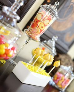 Gummy peaches in container - cute idea for sunshine party