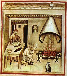 """Schweinefleisch galt entsprechend der Humoralpathologie als """"heiß"""" und """"feucht"""" und wurde bevorzugt am offenen Feuer geröstet. Küchendarstellung, Tacuinum Sanitatis, 15. Jahrhundert"""