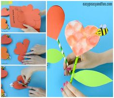 Paper Heart Flower Craft with Template - Easy Peasy and Fun Paper Flowers Craft, Easy Paper Crafts, Flower Crafts, Fun Crafts, Mothers Day Crafts For Kids, Crafts For Kids To Make, Art For Kids, Paper Bouquet, Heart Crafts