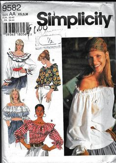 Vintage Simplicity 9582 Boho Gypsy Off The Shoulder Top Blouse
