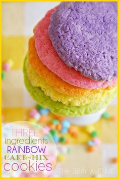 Rainbow Cookies { just three ingredients } made with Cake Mix... They are awesome for birthday parties and Easter. the36thavenue.com