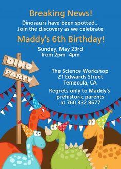 Dinosaur - Birthday Party Invitations