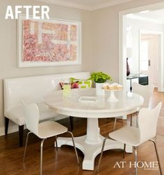 I know this is a breakfast nook, but would love something like this for my office! Before & After: Breakfast Nook by Bear Hill Interiors Kitchen Table Bench, Kitchen Seating, Kitchen Nook, New Kitchen, Kitchen Dining, Kitchen Banquette, Round Kitchen, Banquette Seating, Kitchen Redo