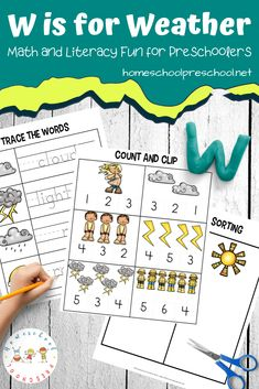 Check out these FREE weather worksheets for preschool. They will help little ones learn colors, ABCs, and beginner math. They're perfect for summer learning!