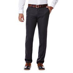 Men's Haggar® Slim-Fit Performance Microfiber Flat-Front Slacks, Size: 32X29, Dark Grey