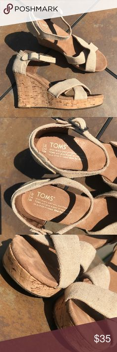TOMS sand color wedges Bought from another posher who didn't mention the tag was upside down on one shoe it it bothers me lol they also aren't wide enought  I tried to return to Poshmark but they denied my return..... so just trying to get my money back from  them - basically new have been worn but are perfect condition TOMS Shoes Wedges