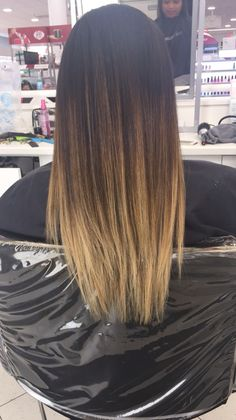 Blonde ombré with dark brown root