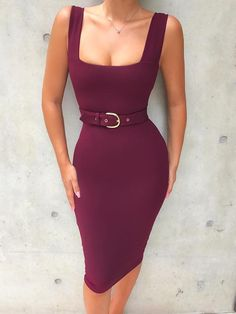 Solid Scoop Neck Belted Sheath Midi Dress