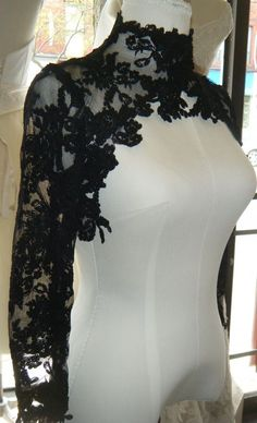 Couture lace bolero ,,, High Fashion, Black lace. $180.00, via Etsy. (Can i get it in cream or ivory or... )