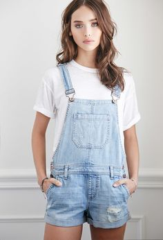 Distressed Denim Overall Shorts | Forever 21 - 2002247866