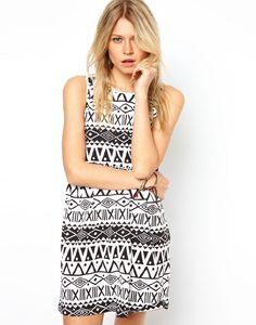 Smock Dress In Aztec Print