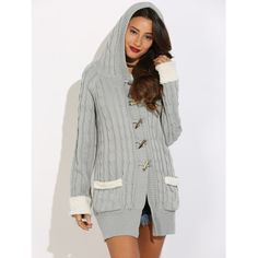 Horn Button Cable Knit Cardigan, GRAY, XL in Sweaters & Cardigans | DressLily.com