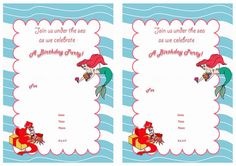 Little Mermaid FREE Printable Birthday Party Invitations