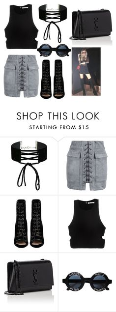 """Photo shoot w/Alissa violet"" by arianas12 ❤ liked on Polyvore featuring Miss Selfridge, WithChic, Barbara Bui, T By Alexander Wang, Yves Saint Laurent and Chanel"